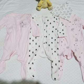 Mothercare baby girl rompers 3 pieces