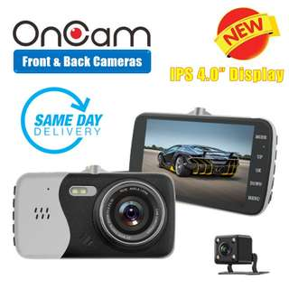 [SALES] Brand New and Quality Dual Camera Front & Back OnCam T810 Car DVR Camera (SILVER) Full HD 1080P Car Camcorder 4.0Inch 170 Degree G-Sensor Dash Cam With Night Vision and G-Sensor (One Year Warranty) AND FREE SAME DAY DOORSTEP DELIVERY @ 80SGD!