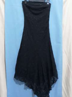 Dress pesta kemben brokat gliter black