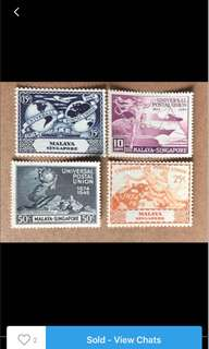 Singapore 1949 UPU stamps Set 4v Mounted mint