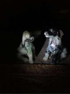 【2018 狗年行大運】 花青 獵犬狗一對 天然 翡翠 三彩 黃翡 冰種 糯米種 花青 飄綠 鵝黃糖蜜 觀音菩薩 吊墬