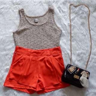 Orange High-Waisted Shorts
