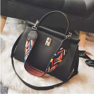 Faux Leather Shoulder Bag with Tribal Strap in Grey