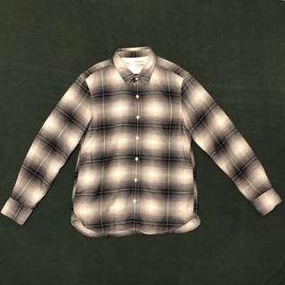 無印良品 MUJI | 古著 純棉 法蘭絨 格紋 黑色 襯衫