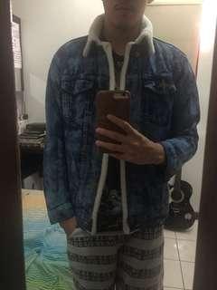 Jaket Jeans trucker bulu