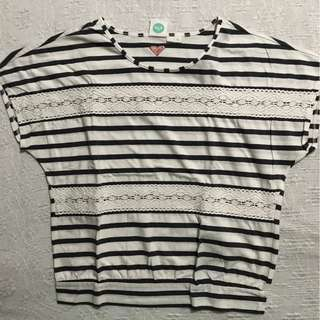 Grey and White Striped Roxy Girl Top