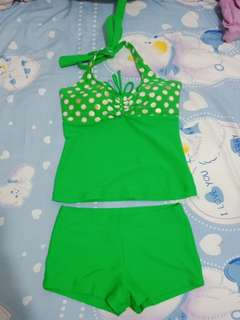 *free ongkir* Two piece green women halter swimsuit