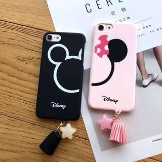 (PO) Disney Mickey Minnie Mouse Tassel Charm iPhone Casing