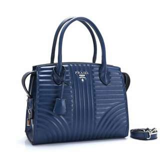 Prada Diagramme Tote Bag Blue Color