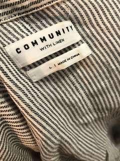 Aritzia Community Linen Strip Button Down