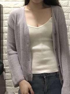 淺紫色短身針織外套