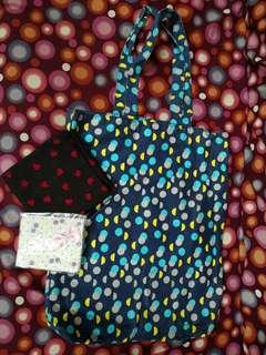 Miss Selfridge tote bag, scarf heart, sanitary bag cherry