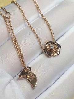 伯爵 Piaget ROSE 光金立體玫瑰花 鑽石項鏈