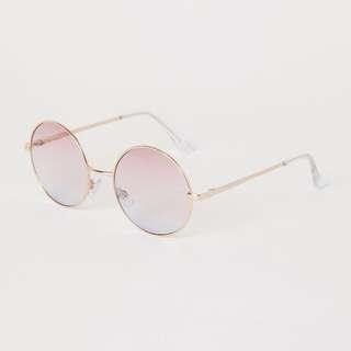 正品 H&M 漸層鏡片圓框太陽眼鏡