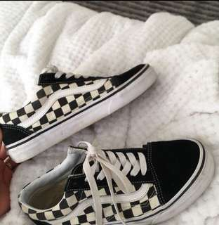 Checkered old skool vans