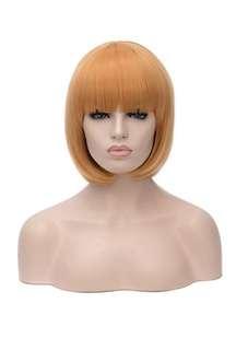 Brand NEW Dark Gold Copper Orange Red Short Bob Wig with Fringe Bangs Festival Wear