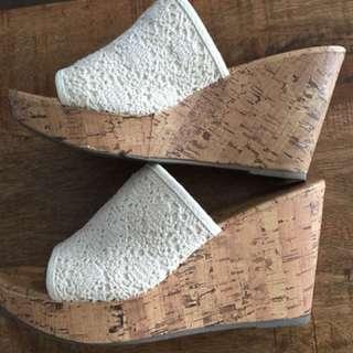 White wood platform sandals