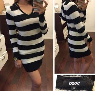 Black and White Stripes Dress with Hood