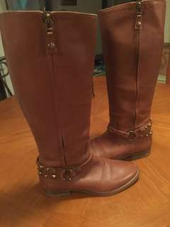 Knee high tan leather boots size 8