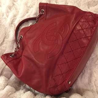 Chanel Bucket Red Leather Shoulder Bag