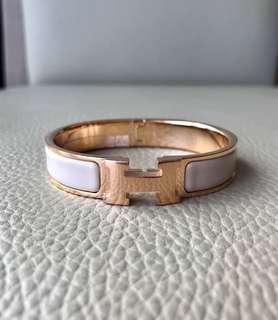 全新Hermes Clic Clac H Enamel Bracelet Bangle Rose Gold Plated Hardware Beige Rose Size GM