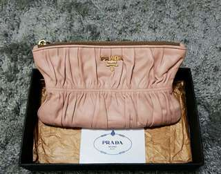Authentic Prada Nappa Gaufre 1m1152 small clutch wallet in Cammeo