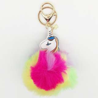 Unicorn multi colour furball keychain/bag hanger