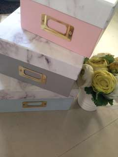 Pastel Granite Boxes Set of 3