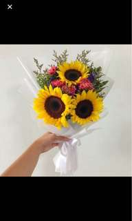 Graduation Sunflower Bouquet with Carnations / Mothers Day carnations