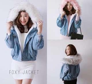 Style by Korea : Fox Fur Hoodie Jacket