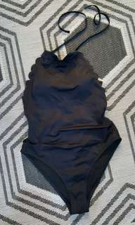 B/New Scalloped 1pc Swimsuit
