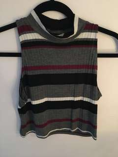 Grey and Burgundy Striped Crop Top - Size Large