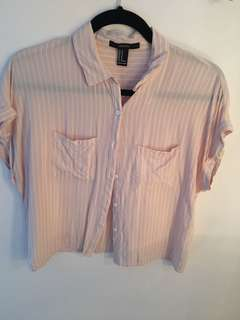 Pink and White Pinstripe Button up Top - Size Medium