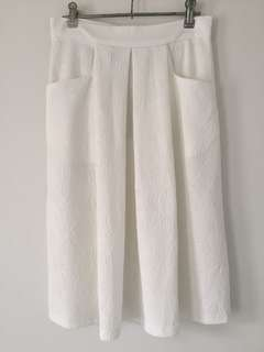 Embossed White Skirt