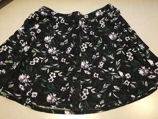 Black Floral Skater Skirt - Size Medium