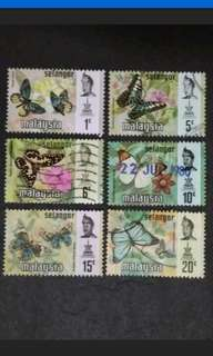 Malaysia 1971 Selangor Butterflies Definitive Loose Set - 6v MNH & Used Stamps