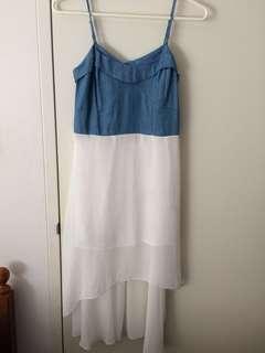 Ladies size 12 denim & white chiffon dress