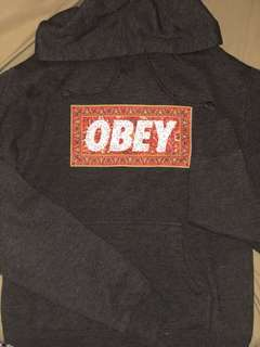 OBEY Charcoal Pullover Hoodie (Small)