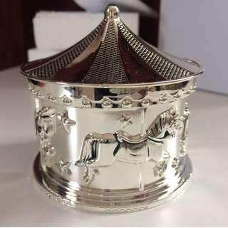 Silver plated music box carousel
