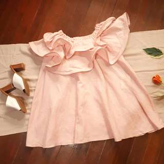 Baby Pink Linen Ruffled Off Shoulder Dress