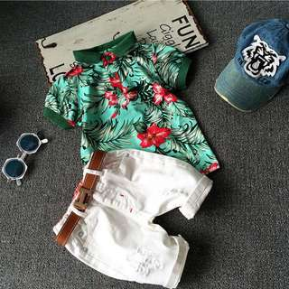 Instock - 2pc Hawaii set, baby infant toddler girl boy children cute glad 123456789 lalalala