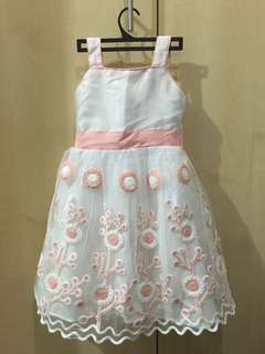 Modern Princess Embroidered White Floral Baby Dress