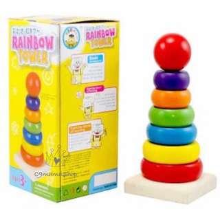 蒙特梭利 教具 早教 bb玩具 木制積木 彩虹塔 層層樂 疊疊高 層層疊 益智 面試 木玩
