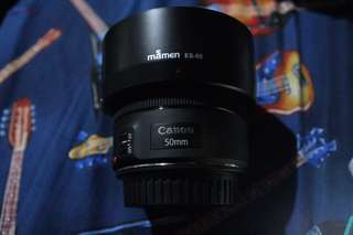 Canon ef 50mm f/1.8 STM with lens hood