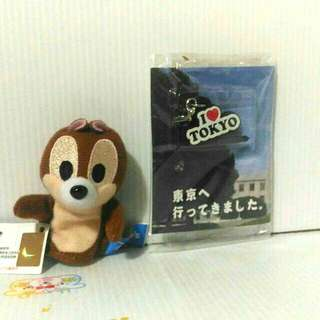 🚚 迪士尼 花栗鼠奇奇手指偶+東京防塵耳機塞