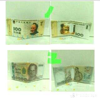 🚚 2入 創意印花帆布皮夾-人民幣,印尼幣造型 (可單買)