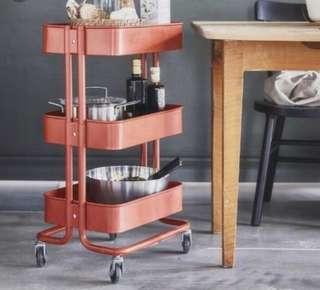 Ikea Raskog (NEW IN BOX) Trolley, Dark Orange (35x45x78cm)