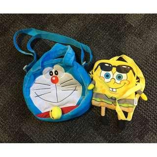 Doraemon Blue Kids Children's Boys Girls Bag + Spongebob for FREE!