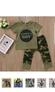 Camouflage new born baby boy Daddy's boy T-shirt pants outfit suit clothing set