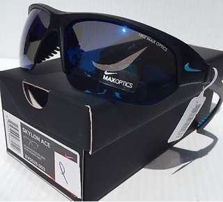 NIKE SKYLON ACE in Matte Black w Blue semi-Mirror Lens in Sport half rim Sunglasses!